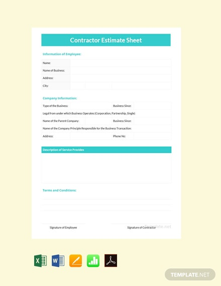 Free General Contractor Estimate Template