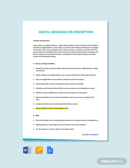 Free Digital Librarian Job Ad/Description Template