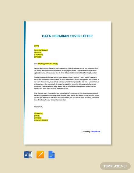 Data Librarian Cover Letter
