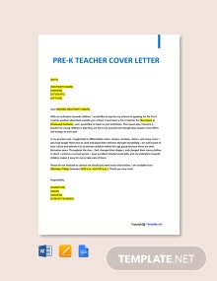Free Pre-K Teacher Cover Letter Template