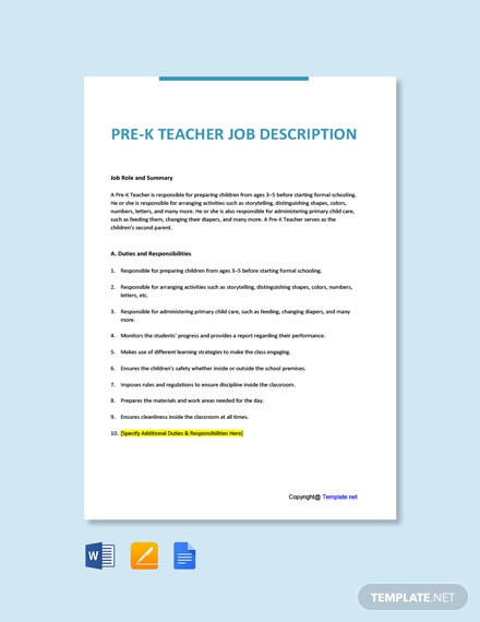 Free Pre-K Teacher Job Description Template