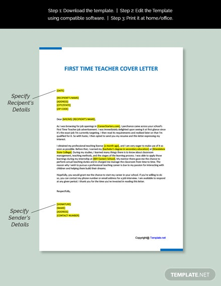 First Time Teacher Cover letter Template