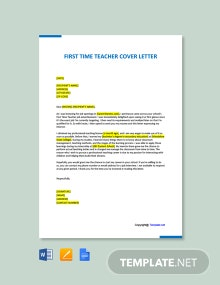 Free First Time Teacher Cover Letter Template