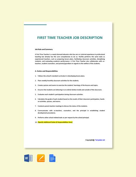 Free First Time Teacher Job Ad/Description Template
