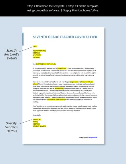 Seventh Grade Teacher Cover letter Template