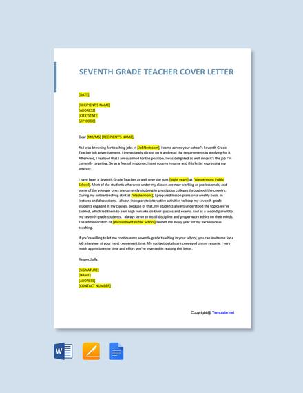 Free Seventh Grade Teacher Cover Letter Template