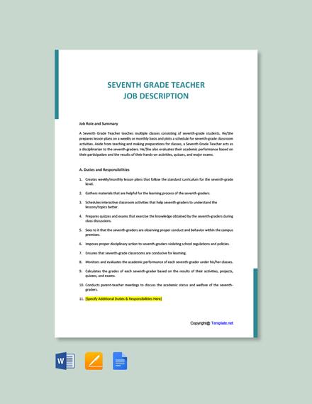 Free Seventh Grade Teacher Job Ad/Description Template