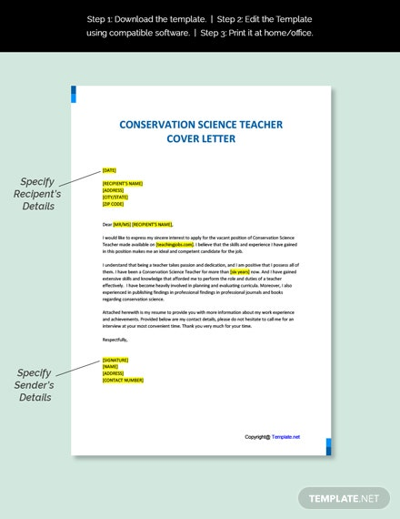 Conservation Science Teacher Cover letter Template