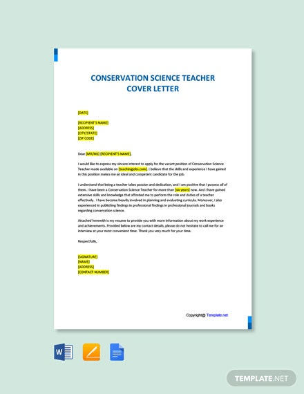 Free Conservation Science Teacher Cover letter Template