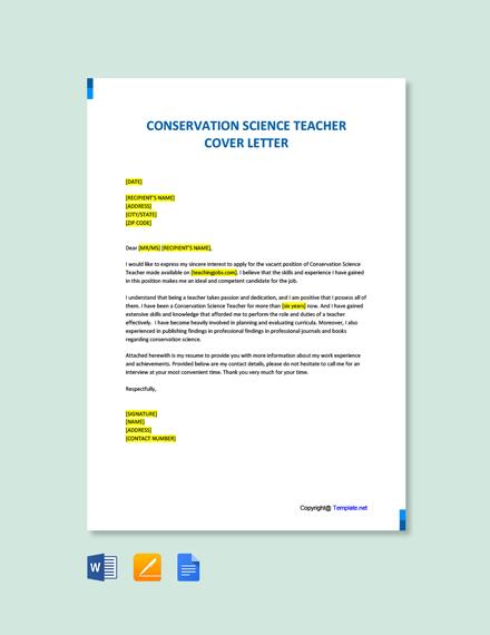 Conservation Science Teacher Cover letter