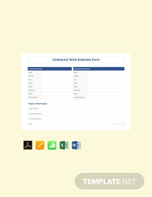 Free Sample Contractor Estimate Template