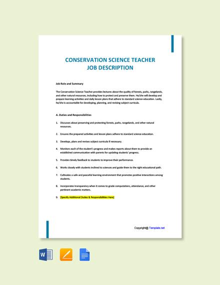 Free Conservation Science Teacher Job Ad/Description Template