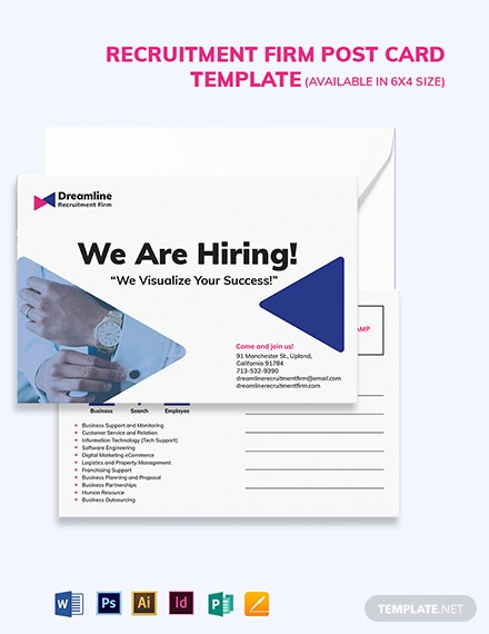 Recruitment Firm Post Card Template
