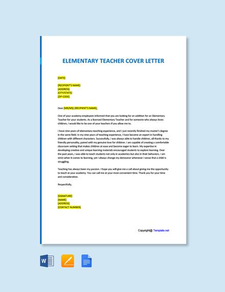 Free Elementary Teacher Cover Letter Template