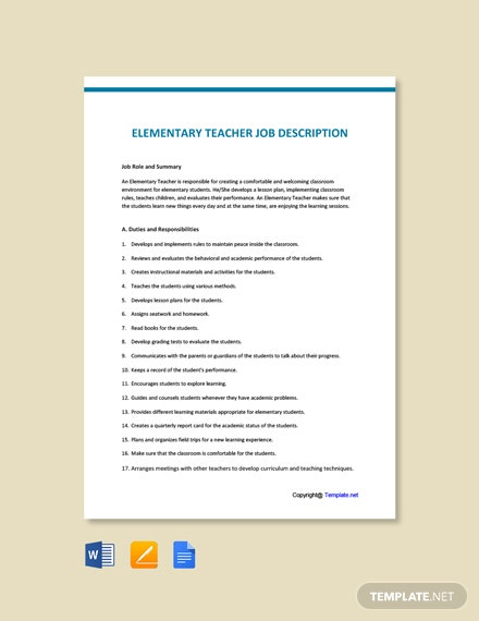 Free Elementary Teacher Job Ad/Description Template