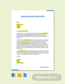 Free English Teacher Cover Letter Template