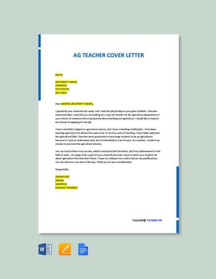 Free AG Teacher Cover Letter Template
