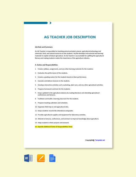 Free AG Teacher Job Description Template