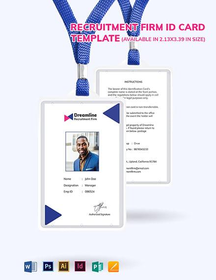 Recruitment Firm ID Card Template