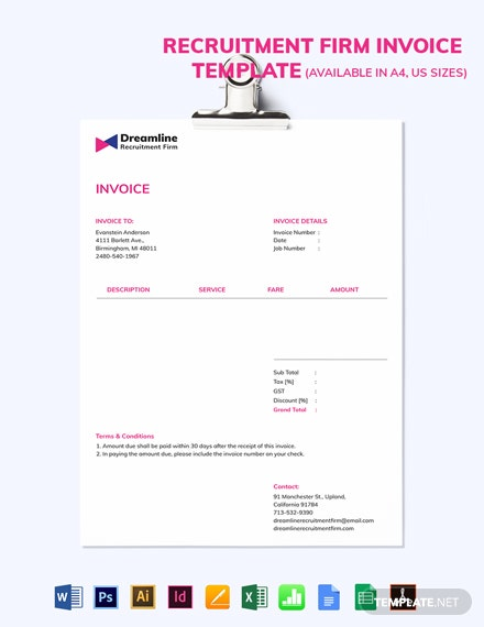 Recruitment Firm Invoice Template