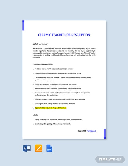 Free Ceramic Teacher Job Description Template
