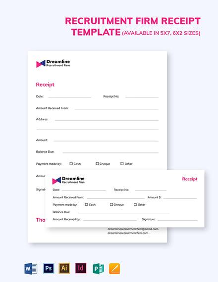 Recruitment Firm Receipt Template