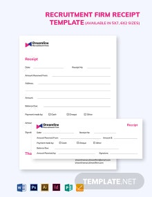 Recruitment Firm Receipt Template