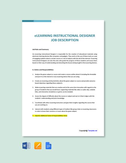 Free eLearning Instructional Designer Job description Template