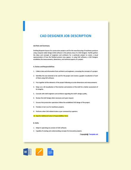 Free CAD Designer Job Ad/Description Template