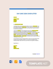 Free Day Care Cook Cover Letter Template