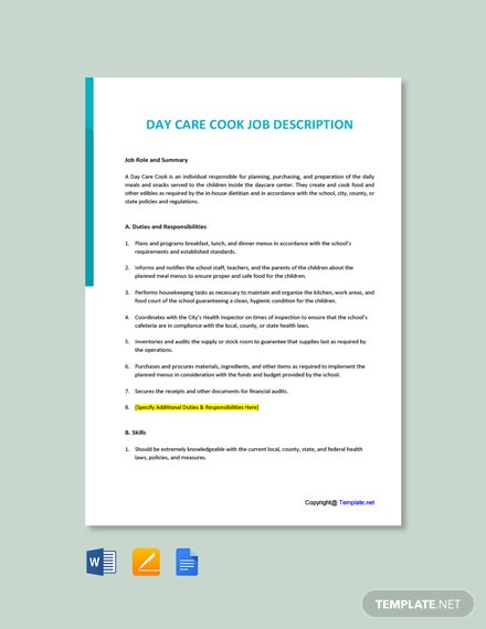 Free Day Care Cook Job Description Template