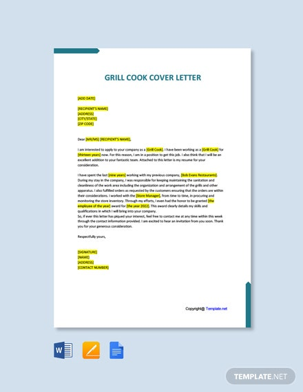 Free Grill Cook Cover Letter Template