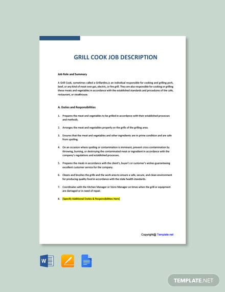 Free Grill Cook Job Description Template