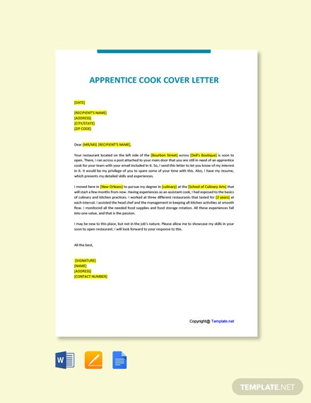 Free Apprentice Cook Cover Letter Template