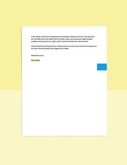 Notice of Subcon Default Template editable