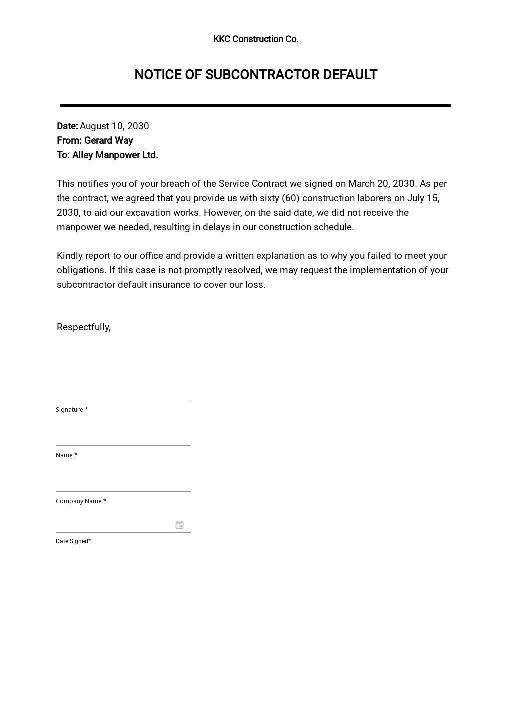 Notice of Subcon Default Template