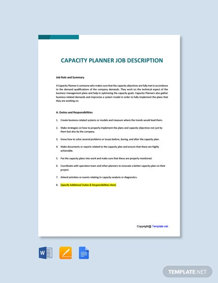 Free Capacity Planner Job AD/Description Template