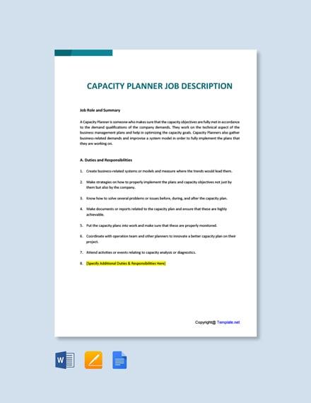 Free Capacity Planner Job Description Template