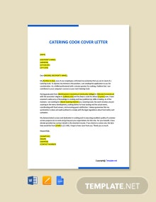 Free Catering Cook Cover Letter Template
