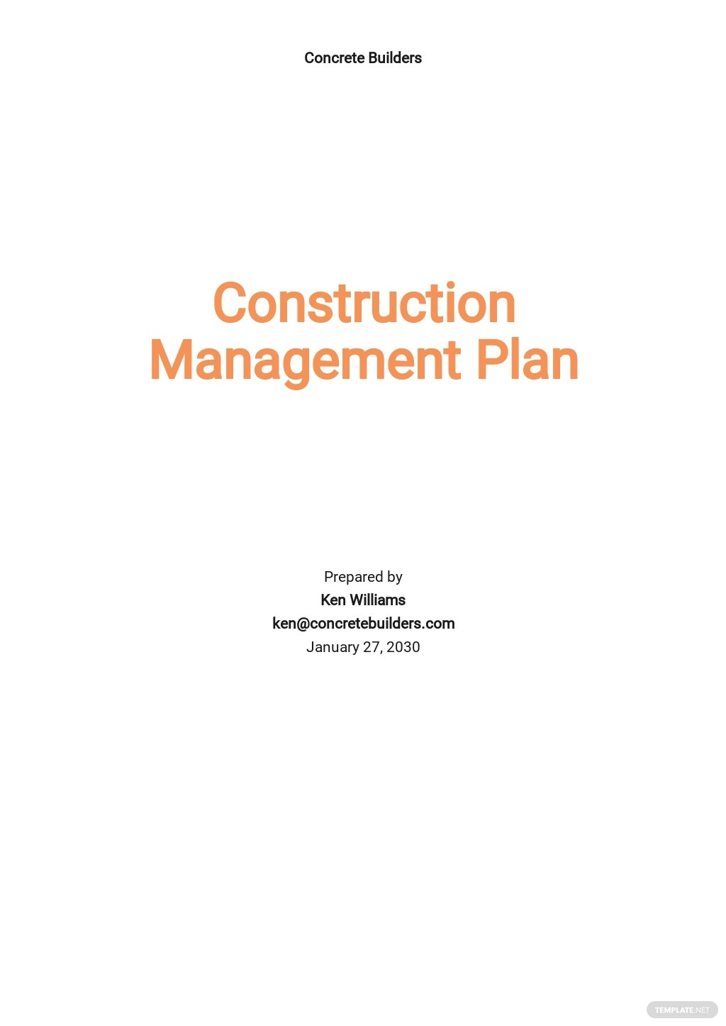 Printable Construction Management Template