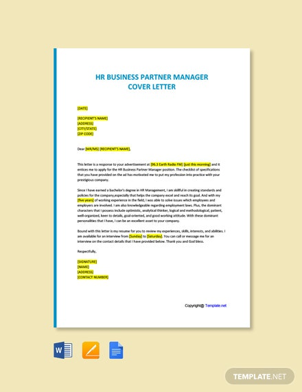 Free HR Business Partner Manager Cover letter Template
