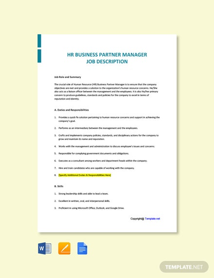 Free HR Business Partner Manager Job Description Template