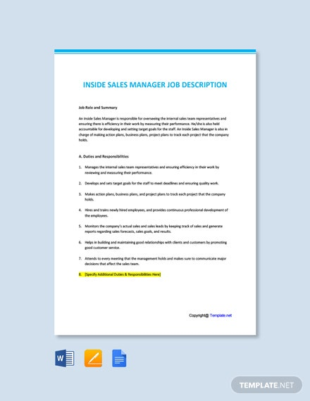 Free Inside Sales Manager Job Description Template