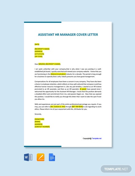Free Assistant HR Manager Cover Letter Template