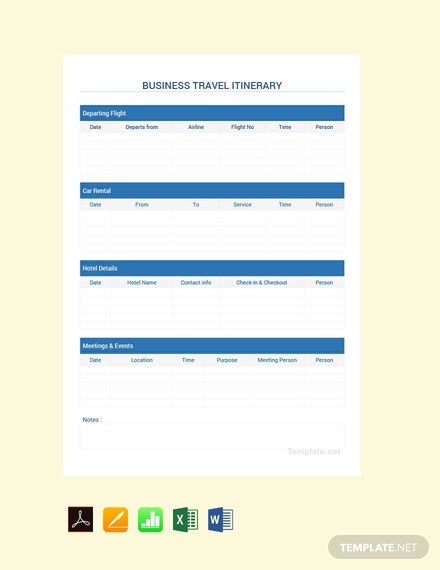 Free Simple Business Travel Itinerary Template
