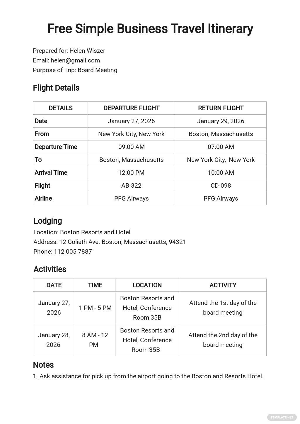 Simple Business Travel Itinerary Template