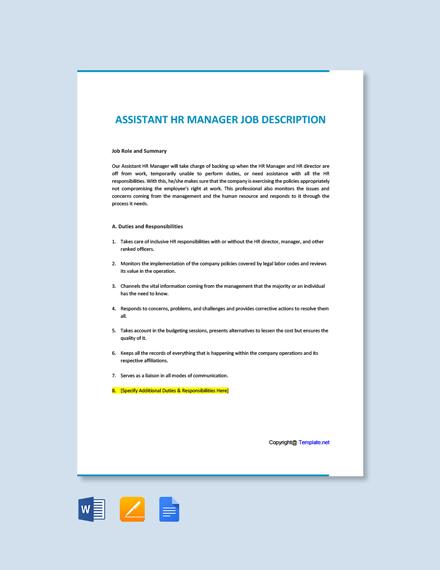 Assistant HR Manager Job Description Template