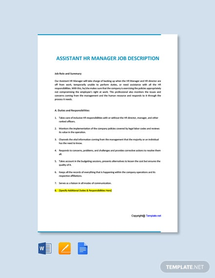 Free Assistant HR Manager Job Description Template