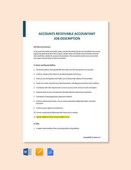 Free Accounts Receivable Accountant Job AD/Description Template