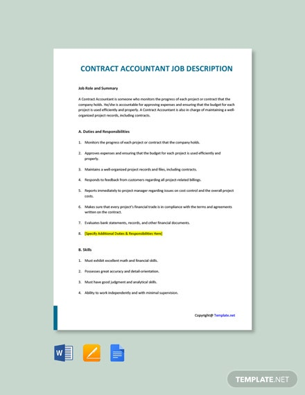 Free Contract Accountant Job Description Template